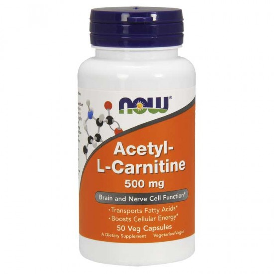 Acetyl-L-Carnitine 500 mg 50 vcaps - Now / Λιποδιαλύτης