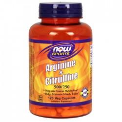 Arginine & Citrulline 500/250 120 φυτοκάψουλες  Now / Αμινοξέα