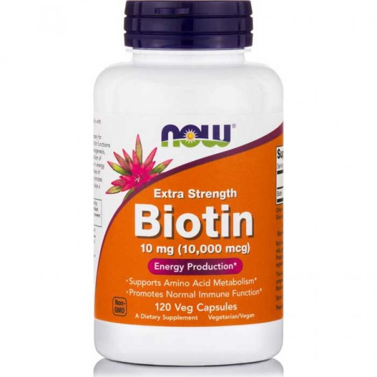 Biotin 10000 mcg 120 Φυτικές Κάψουλες - Now / Βιταμίνες - Βιοτίνη