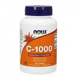 Vitamin C-1000 with Rose Hips & Bioflavonoids - 100 tablets NOW Foods / Aγριοτριανταφυλλιά & Bιοφλαβονοειδή