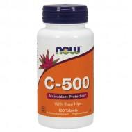 Vitamin C 500 with Rose Hips 100 ταμπλέτες - Now / Αντιοξειδωτική Βιταμίνη