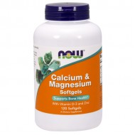 Calcium & Magnesium with Vit D and Zinc 120 softgels - Now / Ασβέστιο - Μαγνήσιο
