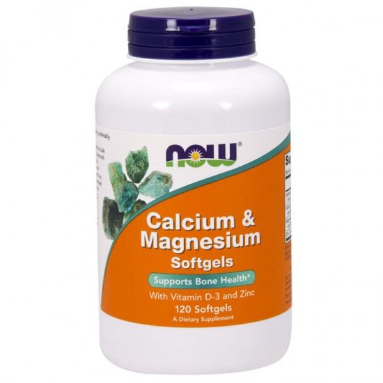 Calcium & Magnesium with Vit D and Zinc 120 softgels - Now / Ασβέστιο - Μαγνήσιο