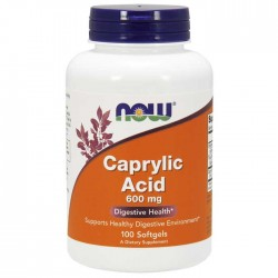Caprylic Acid 600mg 100 μαλακές κάψουλες - Now / Υγεία Εντέρου - Πεπτικού