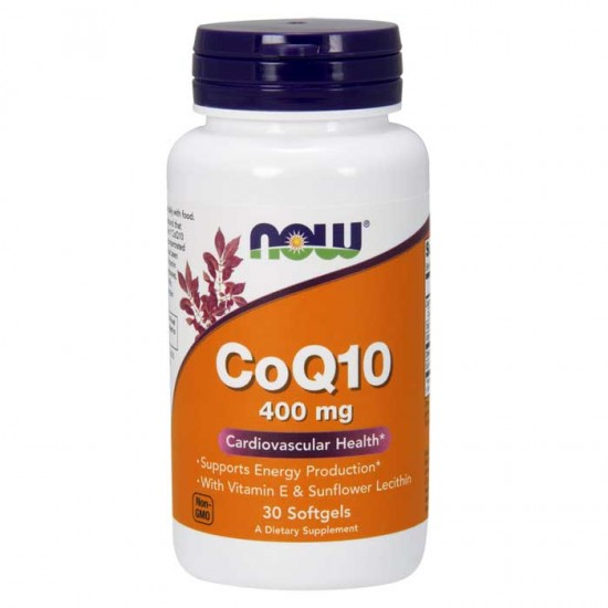 CoQ10 400mg with Vitamin E & Sunflower 30 softgels - Now Foods