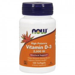 Vitamin D-3 2000 IU - 120 softgels NOW Foods / Βιταμίνη D3