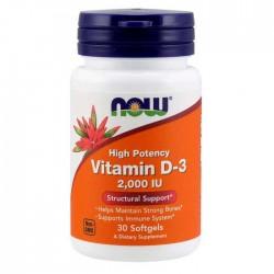 Vitamin D-3 2000 IU - 30 softgels Now Foods / Βιταμίνη D3