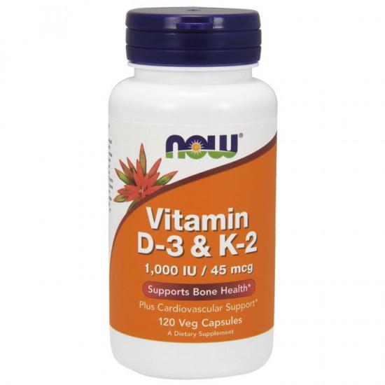 Vitamin D-3 & K-2 - 120vcaps NOW Foods / Βιταμίνη D3 K2