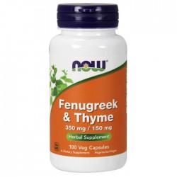 Fenugreek & Thyme 350mg / 150mg 100 φυτοκάψουλες - Now / Θυμάρι &Τριγωνέλα
