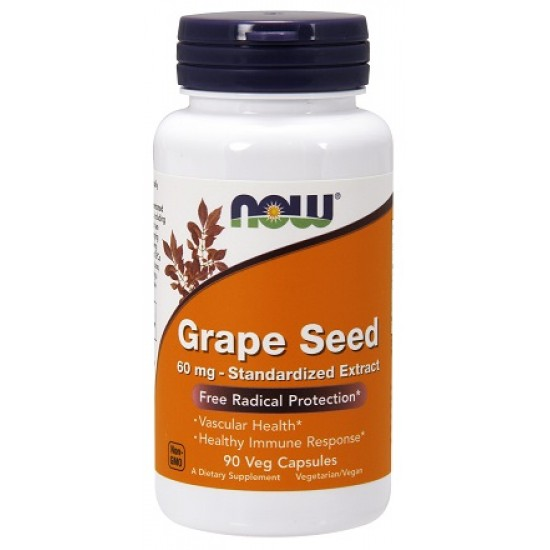 Grape Seed 60mg 90 φυτοκάψουλες - Now Food / Αγγειακή Λειτουργία