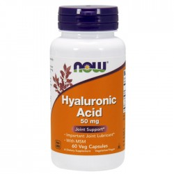 Hyaluronic Acid with MSM, 50mg - 60 vcaps NOW Foods / Υαλουρονικό Οξύ