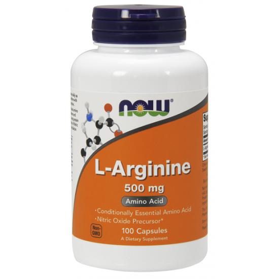 L-arginine 500mg 100 κάψουλες Αργινίνη - Now / Αμινοξέα Χάπια