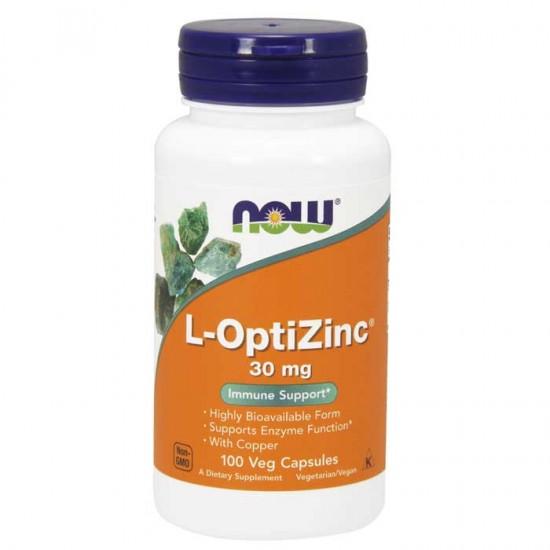 L-OptiZinc® 30 mg 100 vcaps - Now Foods / Ψευδάργυρος - Ανοσοποιητικό