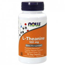 L-Theanine, 100mg with Green Tea - 90 vcaps - Now / Αγχος - Στρες