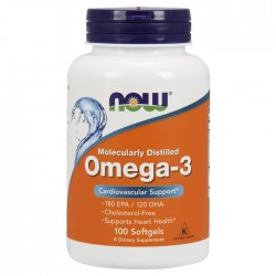Omega-3 Molecularly Distilled Fish Oil 100 softgels - Now / Ωμέγα-3 Λιπαρά Οξέα