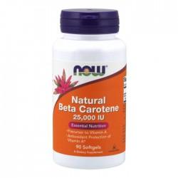 Natural Beta Carotene 25.000IU 90 μαλακές κάψουλες - Now / Βιταμίνες