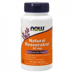 Natural Resveratrol with Red Wine Extract, Green Tea & Grape Seed, 50mg - 60 caps - Now / Καρδιαγγειακή υποστήριξη