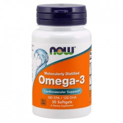 Omega-3, Molecularly Distilled 30 Softgels - Now Foods / Ωμέγα 3