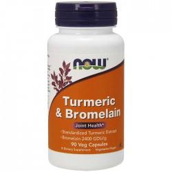 Turmeric Bromelain Joint Health 600mg/300mg 90 φυτικές κάψουλες - Now / Ανοσοποιητικό