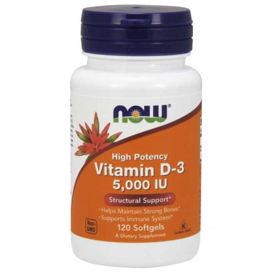 Vitamin D-3 5000 IU 120 μαλακές κάψουλες - Now  / Βιταμίνη D3
