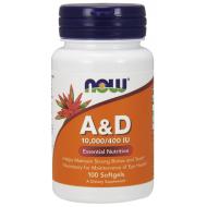 Vitamin A & D, 10000 / 400 IU 100 μαλακές κάψουλες - Now / Βιταμίνες