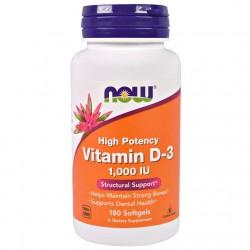 Vitamin D-3 1000 IU  High Potency Vitamin 180 μαλακές κάψουλες - Now / Βιταμίνη D3 - Οστά Δόντια