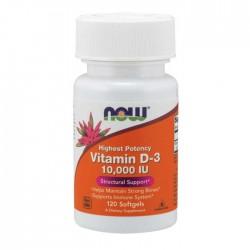 Vitamin D-3 10000iu 120 Veg Capsules - Now Foods