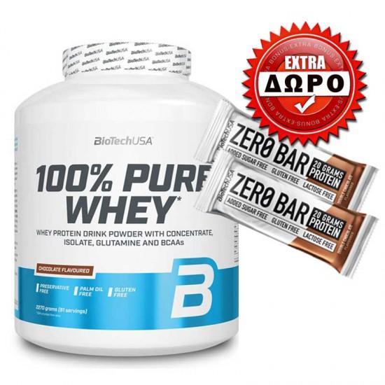100% Pure Whey 2270gr - Biotech USA + ΔΩΡΟ δύο Zero bar 50g