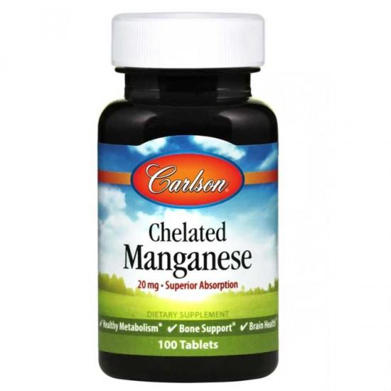 Chelated Manganese 20mg 100 tablets - Carlson Labs