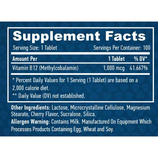 Methyl B12 1000mcg 100 tabs - Haya Labs