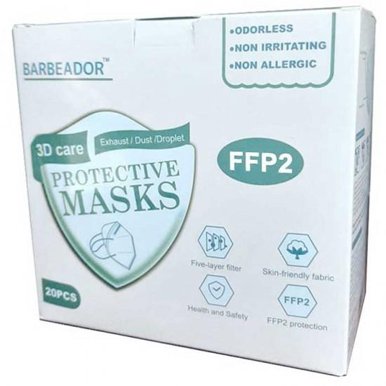 KN95 FFP2 Μάσκα Υψηλής Προστασίας Λευκό 20τμχ - Barbeador