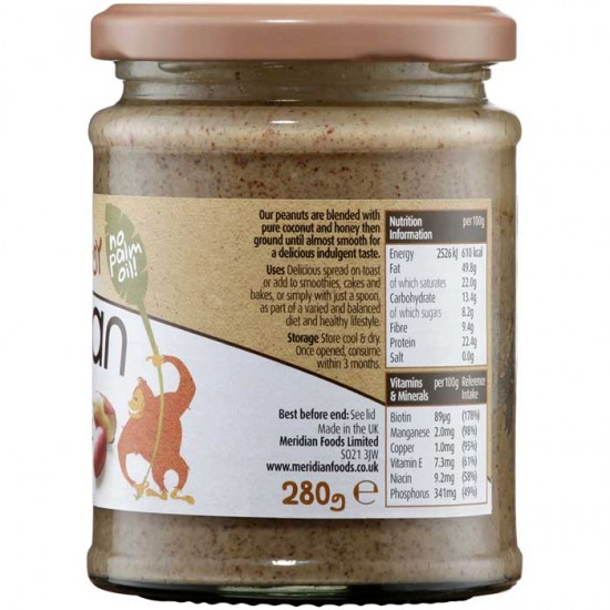 Coconut Butter Peanut 280gr - Meridian Foods / Φυστικοβούτυρο με Καρύδα
