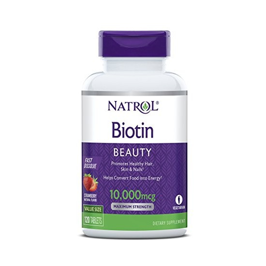 Biotin Beauty 10.000 mcg Fast Dissolve 120 μασώμενες ταμπλέτες - Natrol / Βιοτίνη