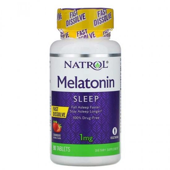 Melatonin Fast Dissolve 1 mg 90 tabs Strawberry - Natrol