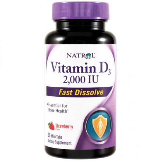 Vitamin D3 2.000IU Fast Dissolve 90 ταμπλέτες Φράουλα - Natrol / Βιταμίνες