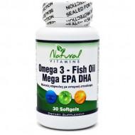 Omega 3 - Enteric Coated Fish Oil 1,000mg 700mg EPA/DHA 30 caps - Natural Vitamins
