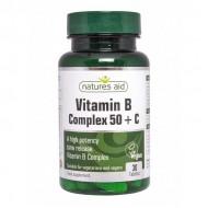 Vitamin B Complex 50 + C 30 ταμπλέτες - Natures Aid / Βιταμίνες