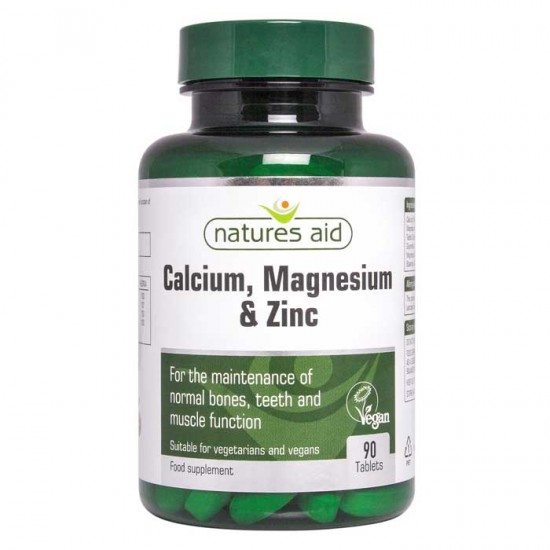 Calcium Magnesium and Zinc 90 ταμπλέτες- Natures Aid - Μέταλλα
