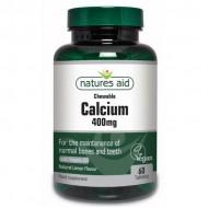 Calcium 400mg Chewable - 60 Μασώμενες Ταμπλέτες με D3 - Natures Aid / Ασβέστιο