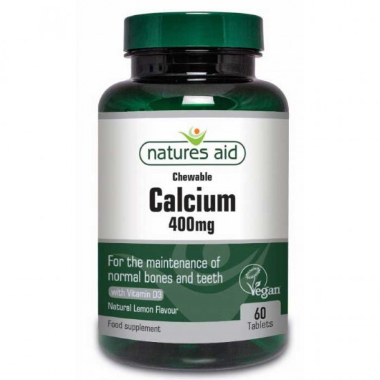 Calcium 400mg Chewable - 60 Μασώμενες Ταμπλέτες με D3 - Natures Aid / Ασβέστιο
