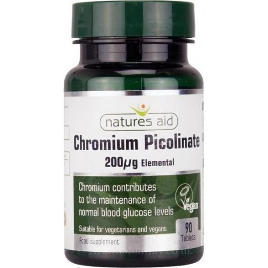 Chromium Picolinate 200ug 90 ταμπλέτες - Natures Aid / Μέταλλα - Μεταβολισμός υδατανθράκων