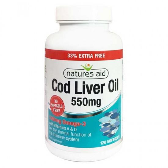 Cod Liver Oil 550mg 120 Softgels  - Natures Aid / Μουρουνέλαιο - Ωμέγα 3