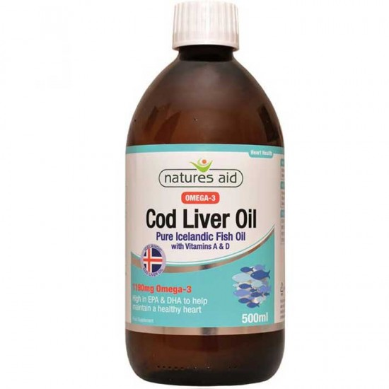 Cod Liver Oil Liquid 500ml Natures Aid / Αγνό Μουρουνέλαιο Ισλανδίας