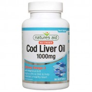 Cod Liver Oil 1000 mg 90 softgels - Natures Aid / Μουρουνέλαιο - Ωμέγα 3