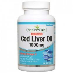 Cod Liver Oil 1000 mg 90 κάψουλες - Natures Aid / Μουρουνέλαιο - Ωμέγα 3