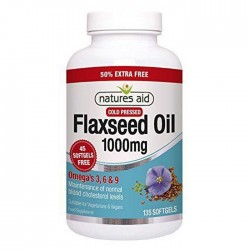 Flaxseed Oil 1000 mg 135 softgels Natures Aid / Ωμέγα 3