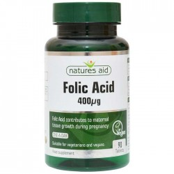 Folic Acid 400μg 90 ταμπλέτες - Natures Aid / Φολικό Οξύ - Βιταμίνες