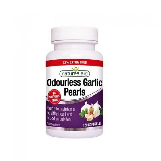 Garlic Pearls (Odourless)120 Softgels - Natures Aid/Αοσμο εκχυλισμα σκορδου