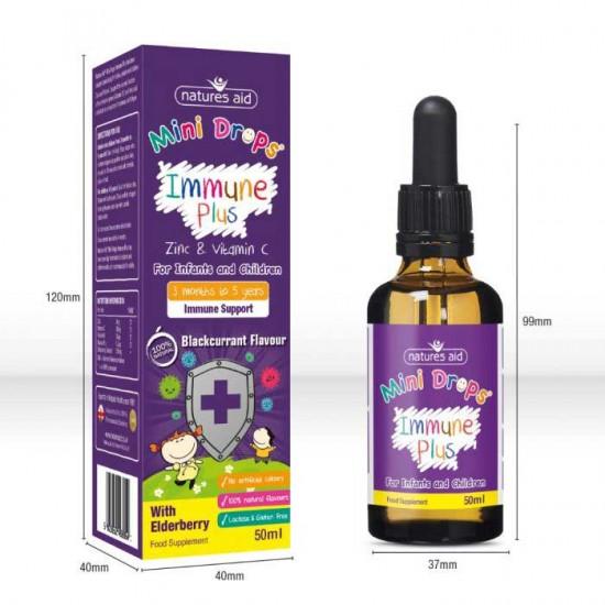 Immune Plus Mini Drops 50ml - Natures Aid / παιδιά 3 μηνών - 5 ετών