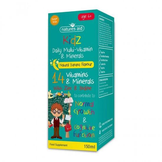 Kidz Multi-vitamin+minerals 150ml - Natures Aid / Πολυβιταμίνη για παιδιά 6+